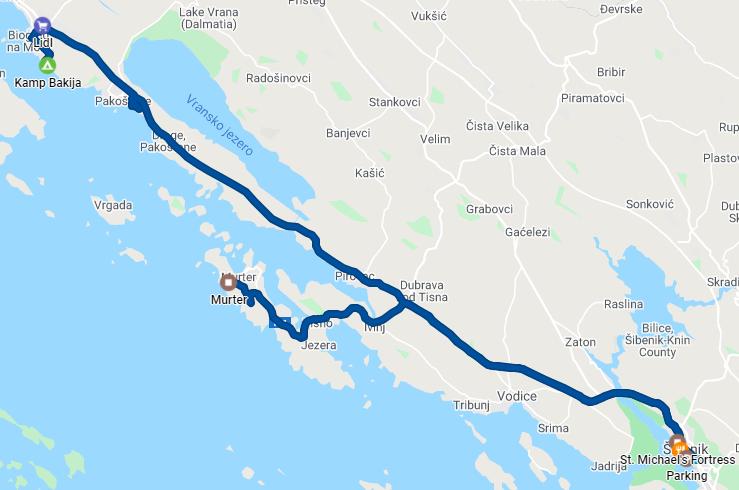Murter - Šibenik - Camp Bakija - 89 km