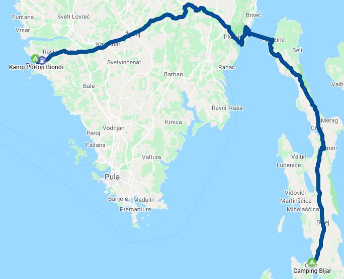 Rovinj - Camping Bijar / Cres - 124 km